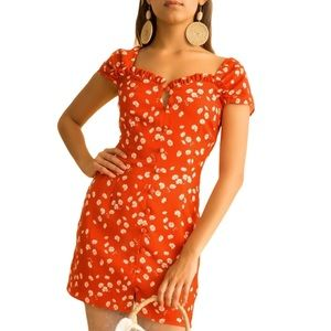 Finders Keepers Mae Mini Dress in Red Daisy